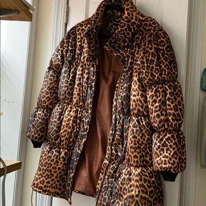 Prettylittlething cheetah animal puffer coat